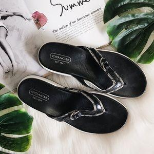 Coach   Lyndsey Black Classic Flip Flop Sandals